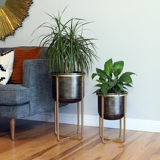 "Link to Rizzy Mid Century Planters (Set of 2) - 23.5""H x 13""W x 13""D / 17.5""H x 11""W x 11""D Similar Items in Planters, Hangers & Stands"