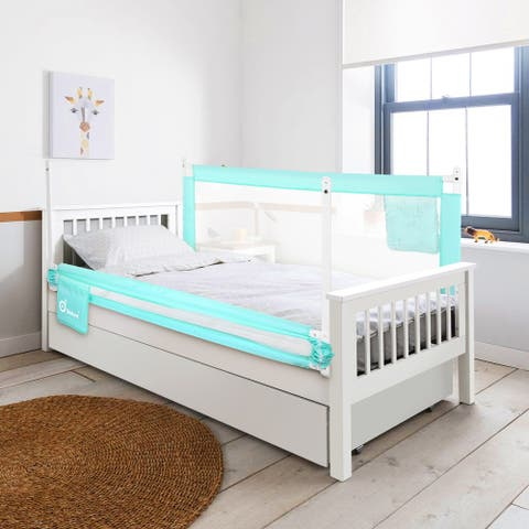 70in Green Bed Rail, Extra Long Vertical Lifting Safety Bedrail Assist Extra Long Mesh Guard Rails for Convertible Crib