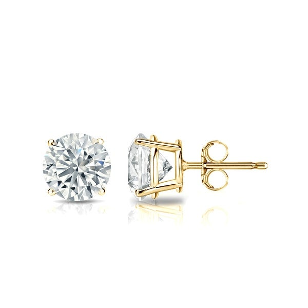 Auriya 18k Yellow Gold 4-Prong Basket Round Diamond Stud Earrings (1/4 - 2 ct TDW, G-H, SI1-SI2) Push-Back