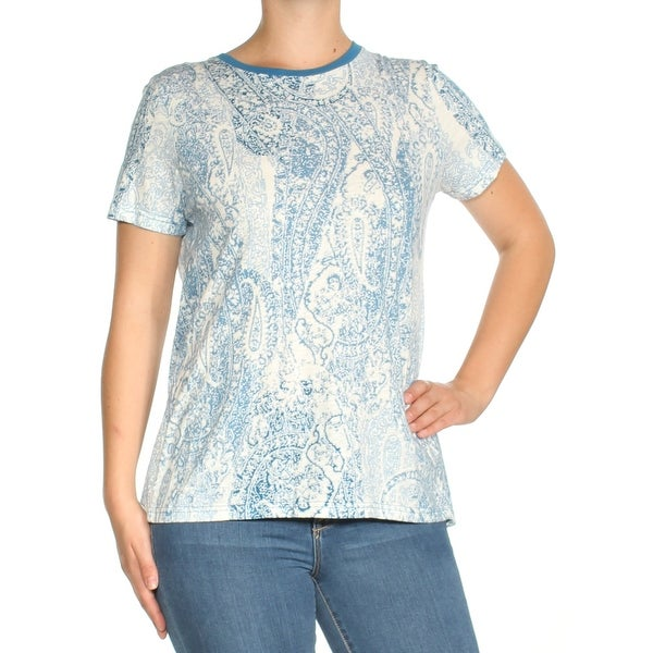b535e07542bd7a Shop TOMMY HILFIGER Womens Ivory Paisley Short Sleeve Crew Neck Top Size  M  - Free Shipping On Orders Over  45 - Overstock - 23458206