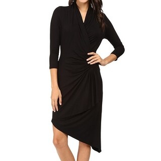 Karen Kane NEW Black Womens Size Medium M Surplice Ruched Wrap Dress