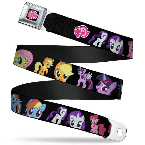 My Little Pony Logo Full Color Black Pink 6 Ponies Face Close Up & Pose Seatbelt Belt