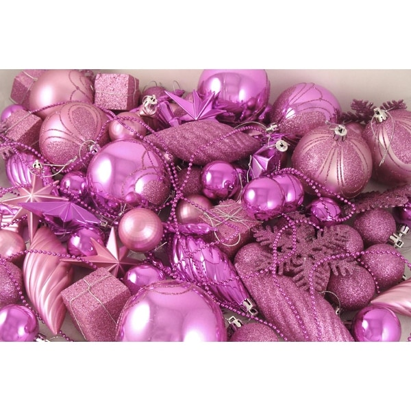 125-Piece Club Pack of Shatterproof Bubblegum Pink Christmas Ornaments