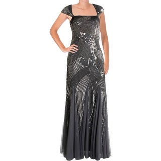 Adrianna Papell Womens Mesh Prom Evening Dress