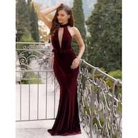 Ever-Pretty Women's Sexy High Collar Velvet Evening Ball Gown Prom Party Dress 07180