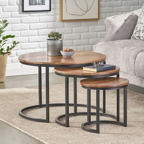 Rosher Modern Industrial Handcrafted Mango Wood Nested Tables (Set of 3) by Christopher Knight Home