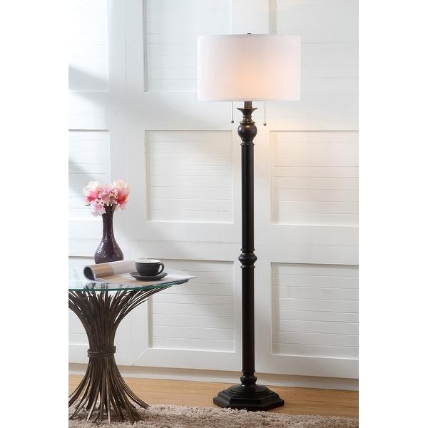 "Safavieh Lighting 59-inch Jessie Oil-Rubbed Bronze 2-light Floor Lamp - 16""x16""x58.75"". Opens flyout."