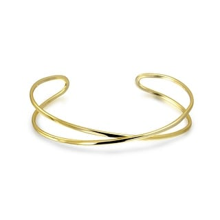 Bling Jewelry Modern X Gold Plated Thin Stackable Bangle Bracelet Silver