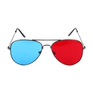 Magenta Cyan Lens Plastic w Metal Arms 3D Movie Game Glasses Eyeglasses