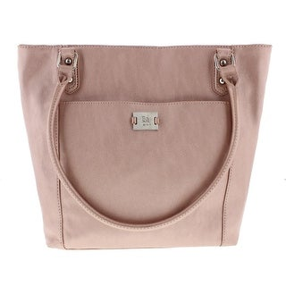 Style & Co. Womens Voytage Faux Leather Shimmer Tote Handbag - Rose Gold - Medium