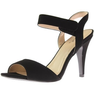 Qupid Womens Ilicia Faux Suede Ankle Strap Dress Sandals