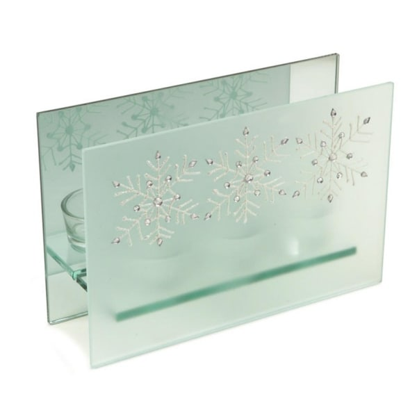 """8.25"""" Frosted Glass Glittered Snowflake Design Mirrored Christmas Triple Votive Candle Holder"""