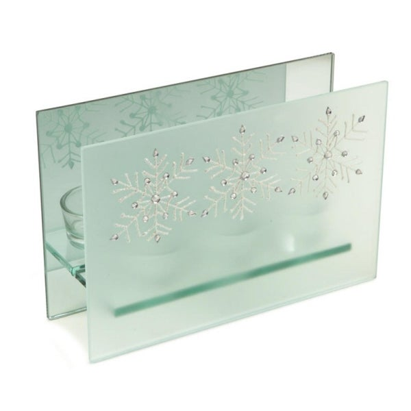 """8.25"""" Frosted Glass Glittered Snowflake Design Mirrored Christmas Triple Votive Candle Holder - WHITE"""