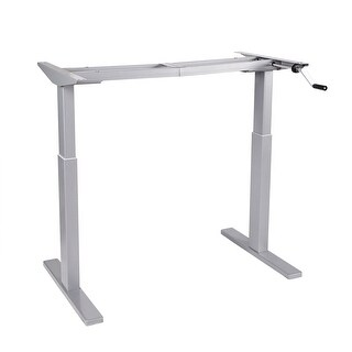 """Flexispot 48"""" Crank Stand Up Desk Frame Workstation Height Adjustable Manual Desk Base Grey H2S"""