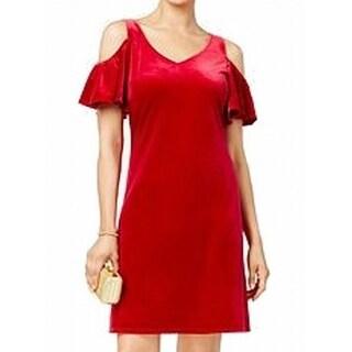 MSK NEW Red Berry Women's Size 6 Velvet Cold Shoulder V-Neck Dress