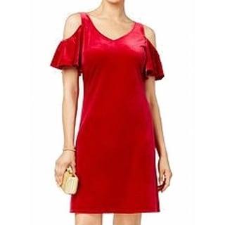 MSK NEW Red Womens Size 14 V-Neck Cold-Shoulder Velvet Sheath Dress