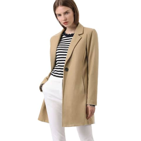 Women's Notched Lapel Button Closure Trench Coat Outwear - Camel