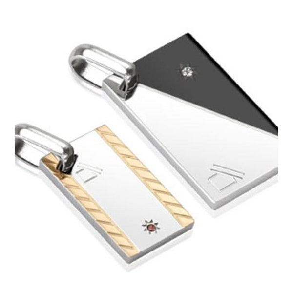 Pair of Stainless Steel Duo Tone Abstract Diagonal Rectangle with Single Paved CZ Couple Pendants (15 mm Width)
