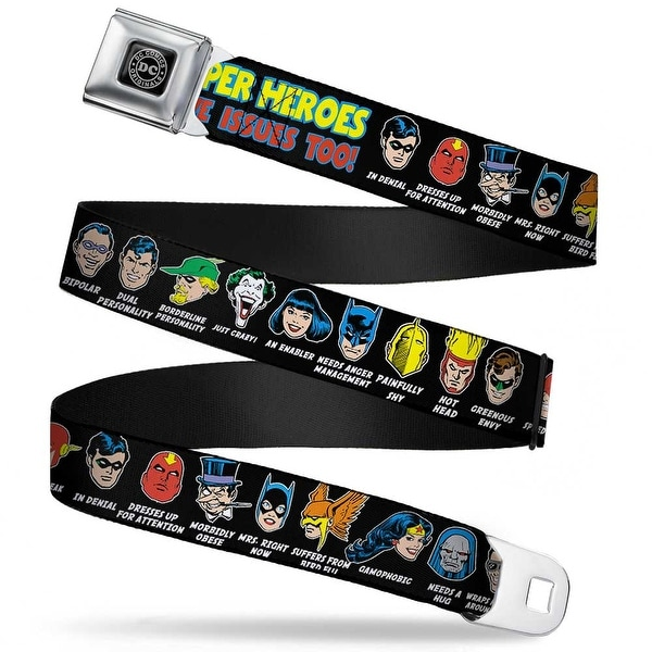 Dc Originals Black Silver Dc Originals Super Heroes Have Issues Too! Faces Seatbelt Belt