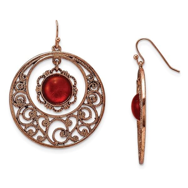 Copper Dangle Shepherds Hook Earrings