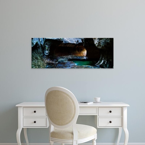Easy Art Prints Panoramic Image 'Rock formations at a ravine, North Creek, Zion National Park, Utah, USA' Canvas Art