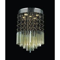 """Worldwide Lighting W33260C16-GT Torrent 5 Light 16"""" Flush Mount Ceiling Fixture in Chrome with Gold Crystals"""