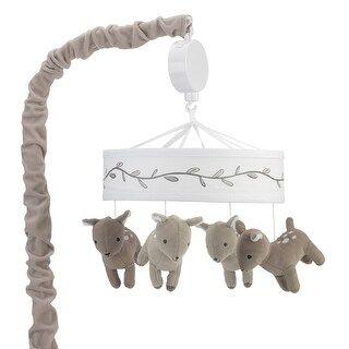 Lambs & Ivy Meadow Musical Baby Crib Mobile - Beige, White, Animals, Woodland, Forest, Deer, Girl