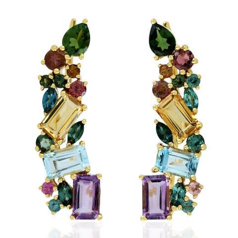 18k Gold Ear Climber Earring Amethyst Citrine Topaz Tourmaline Gemstone Jewelry