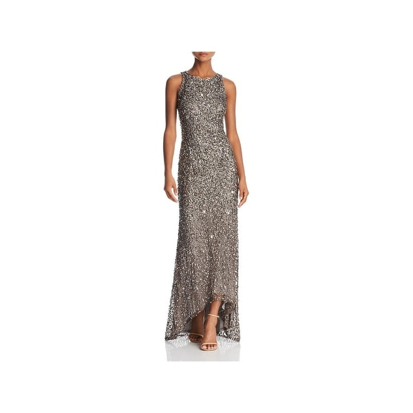 Adrianna Papell Womens Evening Dress Halter Sequined