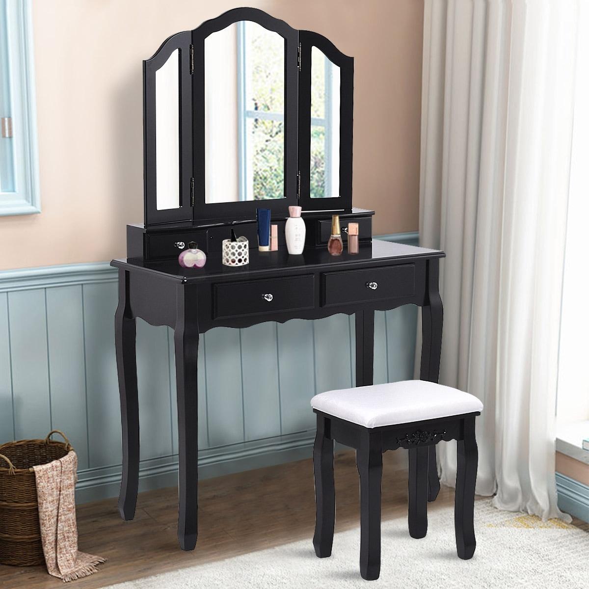 Costway Vanity Makeup Dressing Table Set bathroom W/Stool 4 Drawer\u0026Mirror  Jewelry Wood Desk Black