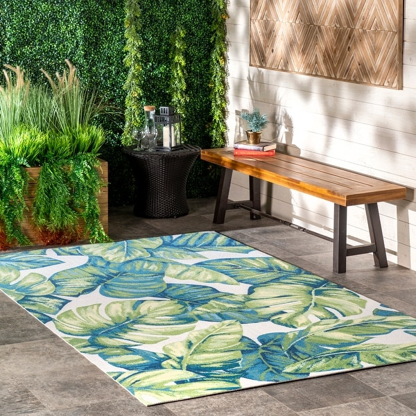 nuLOOM Multi Tropical Tree Leaf Indoor/ Outdoor Area Rug. Opens flyout.