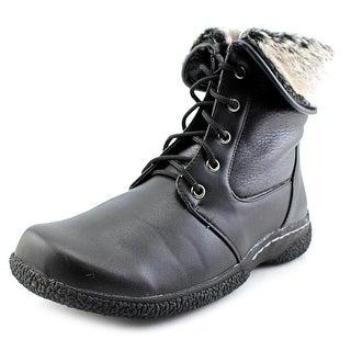 Wanderlust Danette Women W Round Toe Leather Black Winter Boot