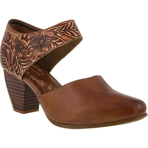 L'Artiste by Spring Step Women's Toolie Heeled Mary Jane Brown Leather