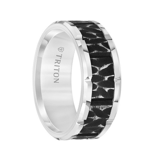 White Tungsten Carbide Two-Tone Sandblasted Textured Men's Ring with Polished Cut Edges by Triton Rings