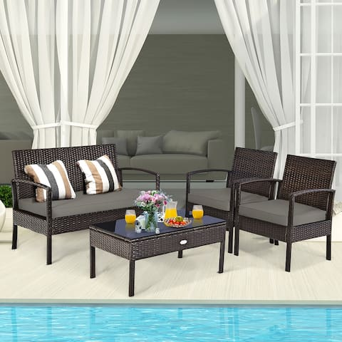 Costway 4 PCS Patio Rattan Wicker Furniture Set Brown Loveseat Sofa