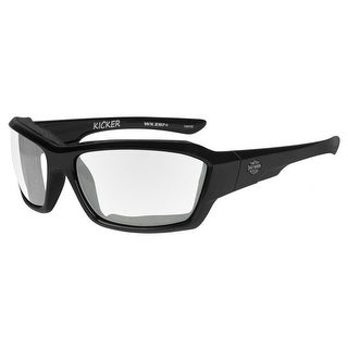 Harley-Davidson Men's Kicker Sunglasses, Clear Lens/Gloss Black Frame HAKIC03 - 63-19-120