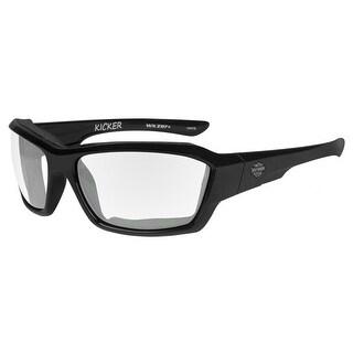 Harley-Davidson Men's Kicker Sunglasses, Clear Lens/Gloss Black Frame HAKIC03 - 63-19-120