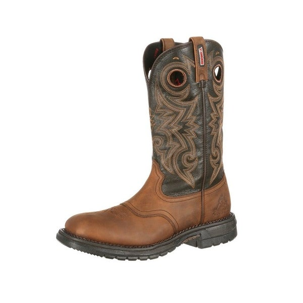 Rocky Western Boots Mens Original Ride Waterproof Saddle Brown