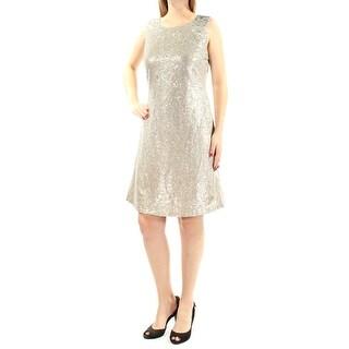 TOMMY HILFIGER $159 Womens New 1130 Gold Sequined Sleeveless A-Line Dress 10 B+B
