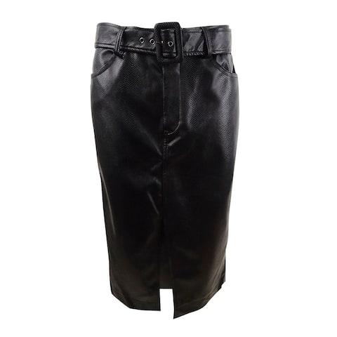Becca Tilley x Bar III Women's Faux Leather Belted Slit Skirt