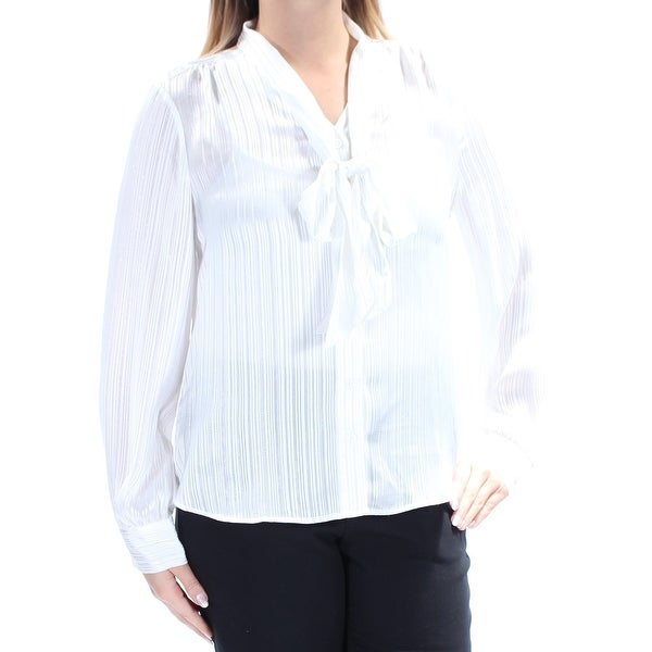 Shop TOMMY HILFIGER Womens Ivory Long Sleeve Tie Neck Top Size  L - Free  Shipping On Orders Over  45 - Overstock.com - 21793273 fd596779a