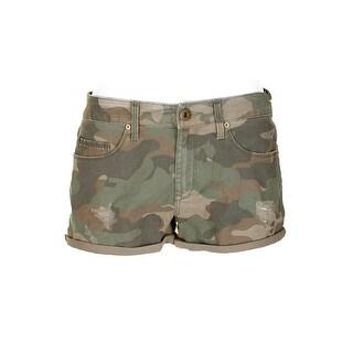 American Rag Juniors Dusty Olive Camo-Print Twill Cargo Shorts