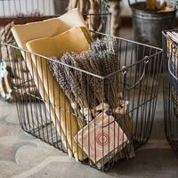 RusticReach Wire Basket Storage Organizer with Handles