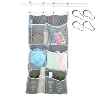 Link to Evelots Shower Caddy-Quick Dry Mesh 6 Pocket Organizer With 8 Curtain Hooks- Similar Items in Shower & Bath Caddies