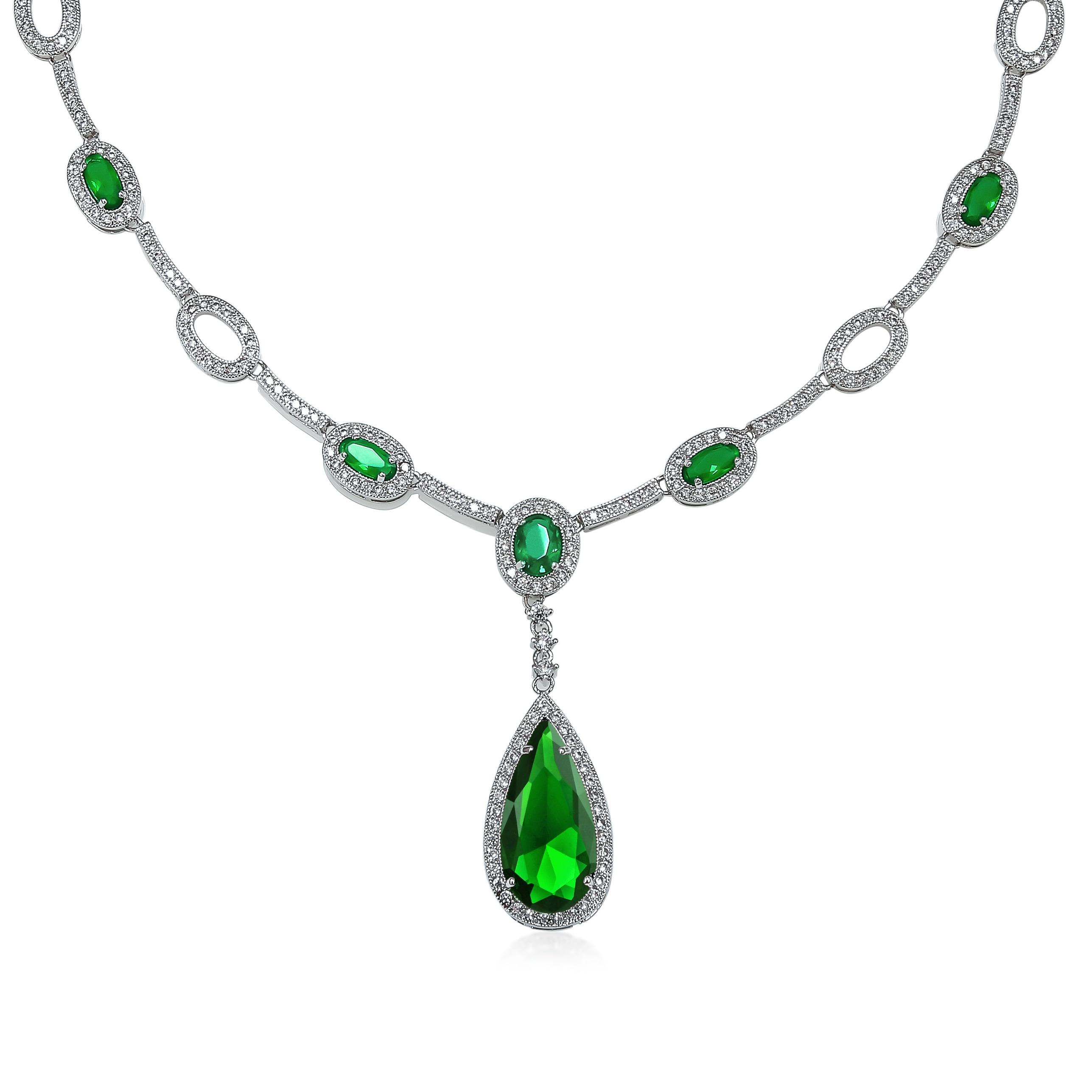 Teardrop Y Necklace Imitation Emerald