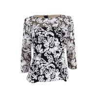 Alex Evenings Women's Floral Lace Blouse - BLACK/WHITE