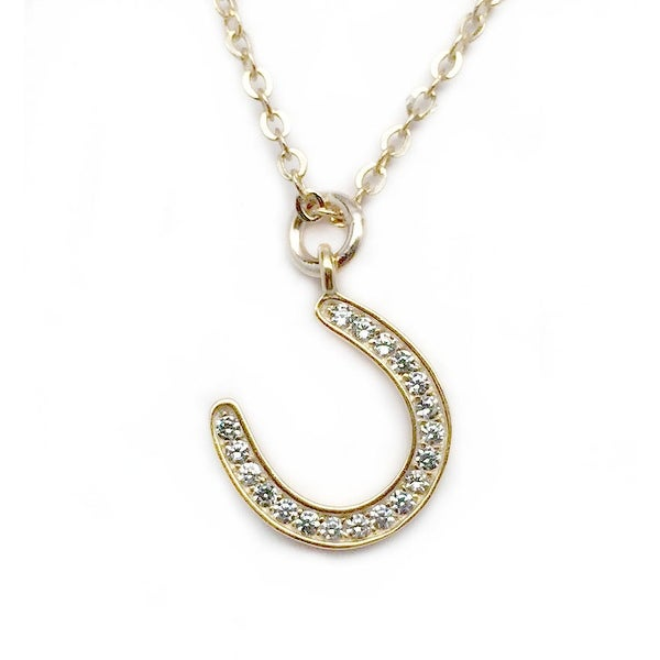 "Julieta Jewelry CZ Horseshoe Gold Charm 16"" Necklace"