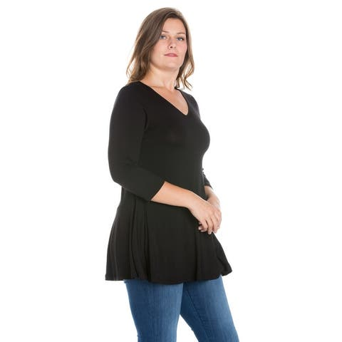 24seven Comfort Apparel Three Quarter Sleeve V-Neck Plus Size Tunic