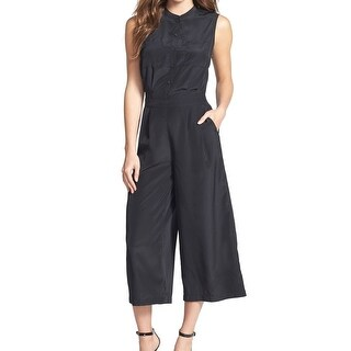 Halogen NEW Rich Black Womens Size Small S Wide Leg Cropped Jumpsuit