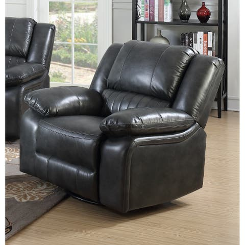 Copper Grove Tanrake Dark Grey Faux Leather Swivel Reclining Glider Chair